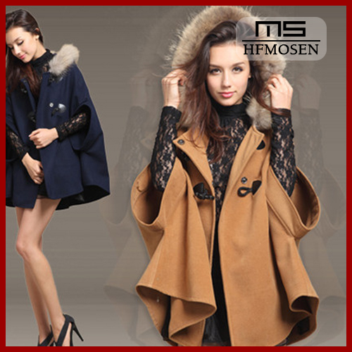 N9083 Free shipping autumn winter Korean new woolen overcoat fur hooded women coat