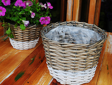 handmade small wicker flower basket with plastic liners