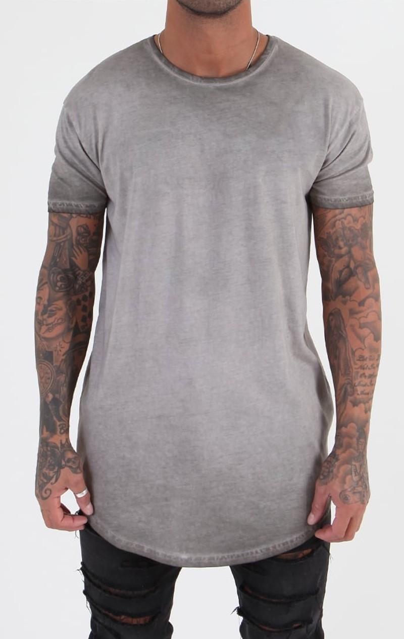 Curved hem cotton t shirt in acid wash buy cotton t for Custom acid wash t shirts