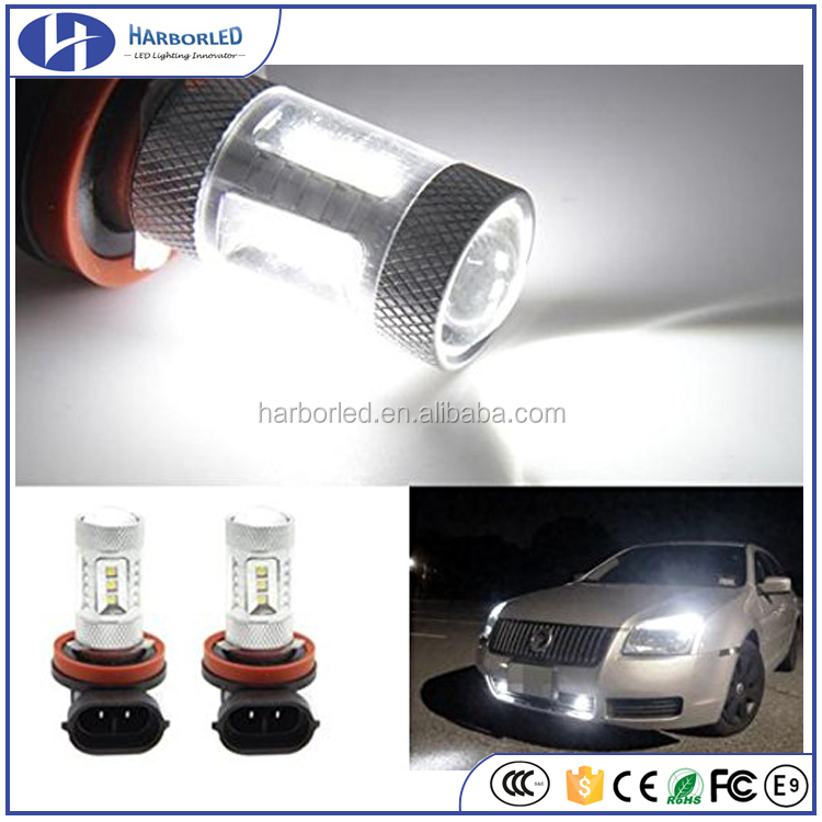 H8 H9 H11 64212 64211 Genuine Samsung 2323 SMD 15w LED Bulb 6000k Xenon White Fog Driving DRL Light w/ Aluminum Alloy Housing