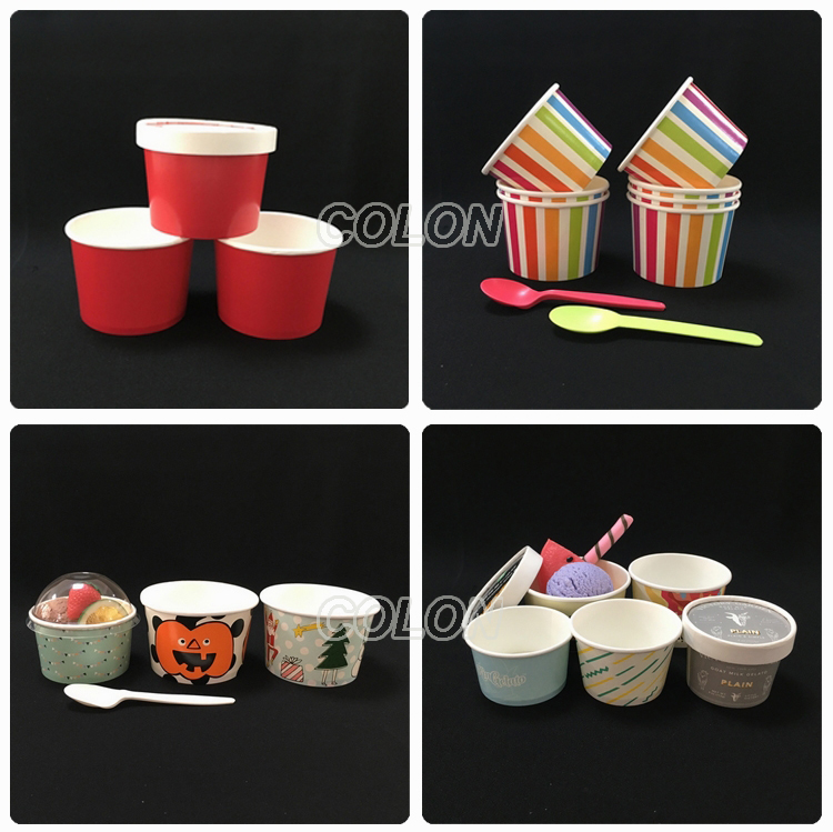 Small ice cream gelato cups and spoons with lids