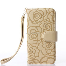 Premium Vintage Emboss Flower Flip Wallet Shell PU Leather Magnetic Cover Skin with Detachable Wrist Strap Case for Samsung Gala