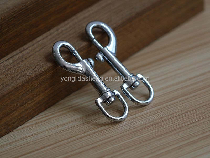 High quality nickel plated zinc alloy swivel bolt metal snap hook