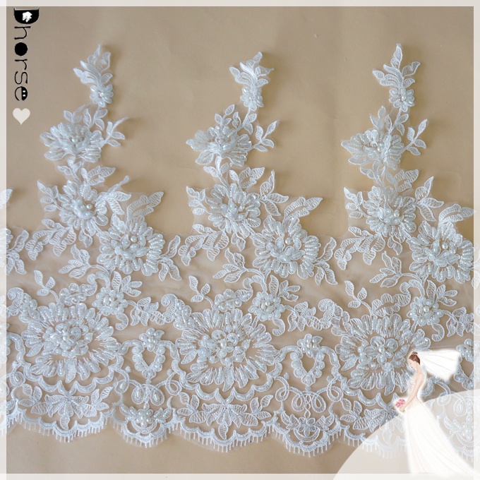 Guangzhou lace/bridal veil trim 42cm wide/embroidery designs-DHBL1701