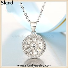 Italy style latest jewelry openwork 3D sterling silver round pendant - inlay crystal compass pendant 925 silver made in China