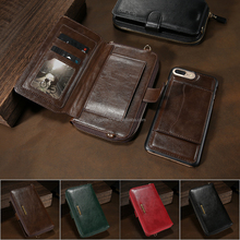 2 in 1Floveme Retro Wallet Magnetic Leather Case 6 Card Slots Pouch Stand Purse For iPhone 7 plus Quality Multi-function case