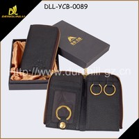 leather key holder gold metal key ring and nice gift box