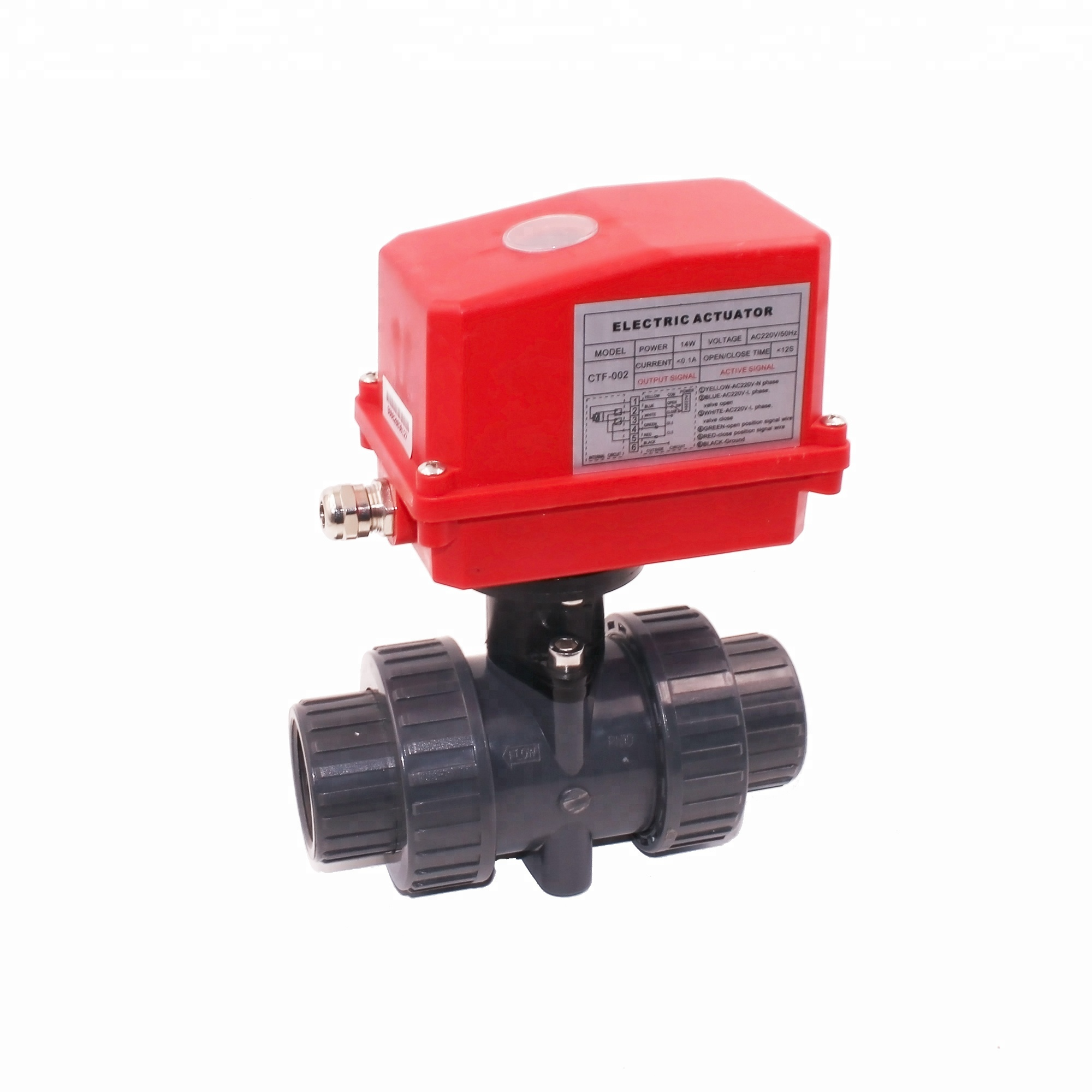 CTF-002 40mm 50mm plastic PVC motorized ball valve 12v 24v 220v for industrial <strong>water</strong> <strong>treatment</strong>
