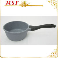 16cm die cast aluminum sauce pan marble non-stick coating removable bakelite handle with silicon coating MSF-6136