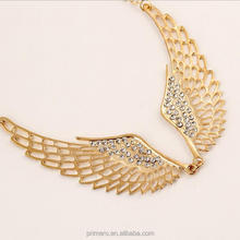 Fashion Rhinestone Jewelry Angel Wings Gold Color Choker Necklace For Girl