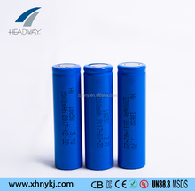 headway rechargeable li ion battery 18650 3.7v 2200mah for recharging lamps