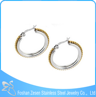 Gold plated stainless steel earring, ladies big hoop earrings, fascinating jewelry earrings