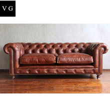 Classic Italy wax leather sofa chesterfield 3 seater living room sofa button back brown leather sofa