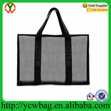 Oversized mesh tote waterproof beach bag with zipper