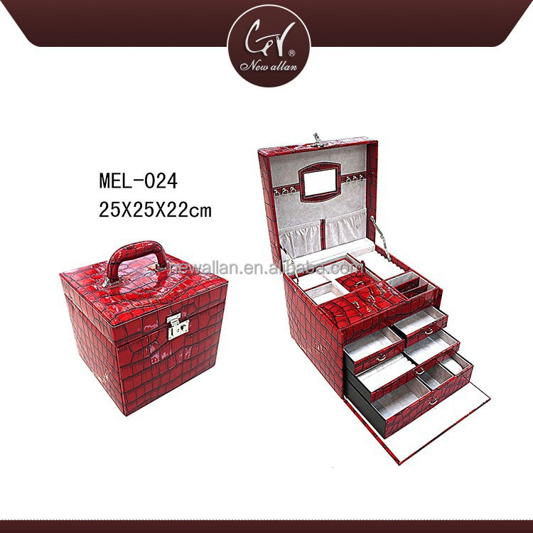 Fashion Travel Gift Box Set,Jewellery Gift Box, Red Color Mother Of Pearl Inlaid Jewelry Box