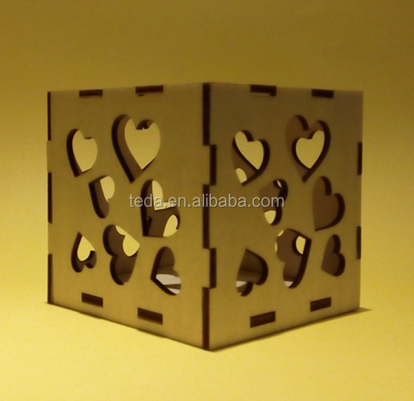 2016 laser cut wood heart shaped candle holders