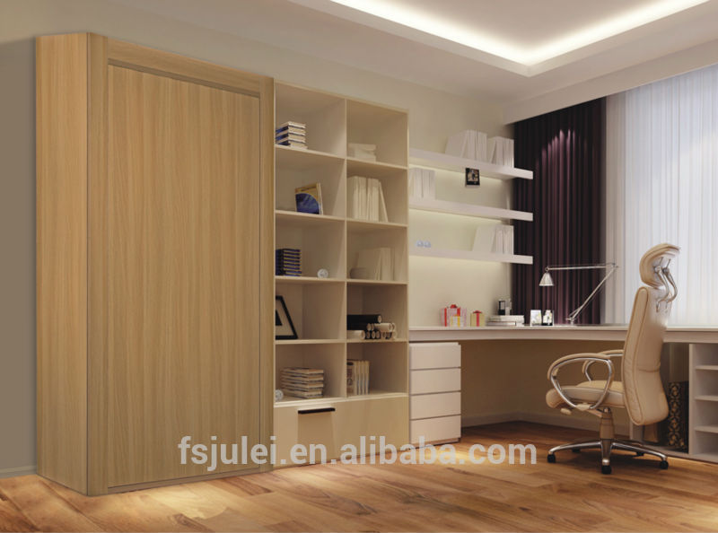 Modern Double Wooden Murphy Wall Bed With Study Table