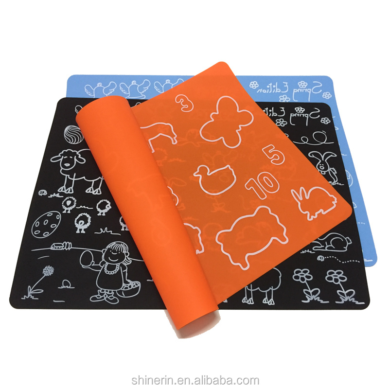 40*30cm Large Table Mat Custom Printed Silicone Place Mat For Kids