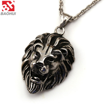 Stainless Steel Hip Hop Lion Head King of Animal Fashion Mens Pendant