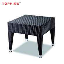 TOPHINE Furniture Modern Metal Leg Wicker Woven Side Table For Bedroom