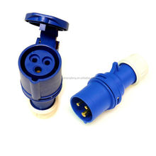16A plug and coupler 3 pin fast fit 2P+E blue 220 - 250 volt 16 amp IP44 waterproof industrial trailing plug connector