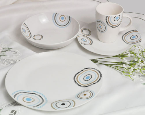 Haonai white & round dinner plate set ceramic dinner set 20,30 pieces dinner set