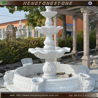 3 Tier Outdoor White Marble Stone Water Fountain For Sale