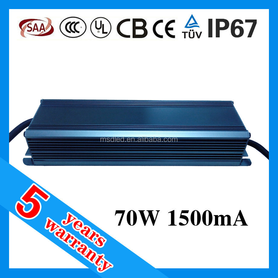 5 years warranty waterproof 70W 1500mA constant current LED driver 40-52V dc 1.5A