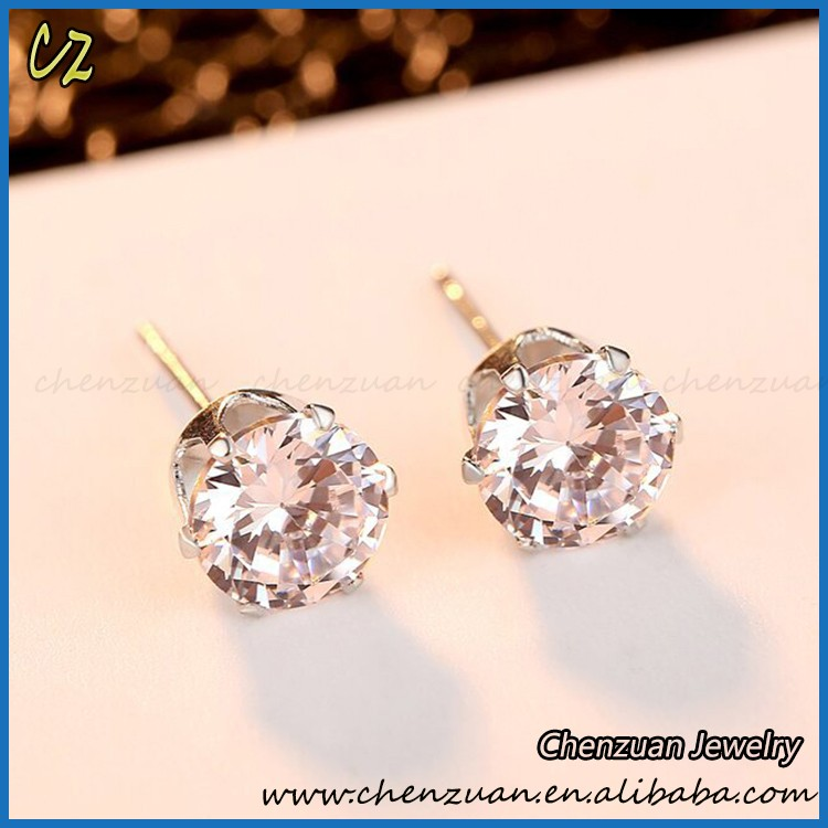 Fashion ladies earrings findings zircon rhinestone earring flower with 18K plated