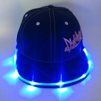 custom contrast thread cotton snapback cap with led/flash