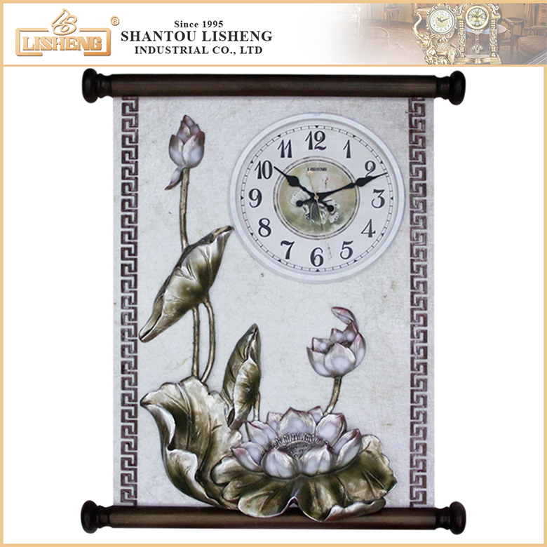 Home stylish photo frame 3D Scroll decoration wall clock on sale