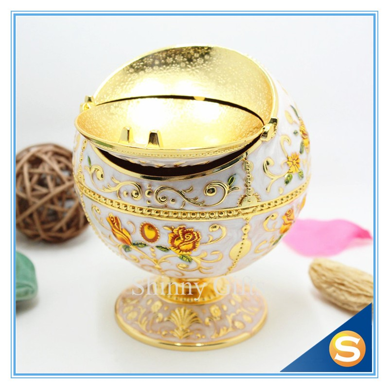 Ball Shape Flower Design Metal Cigar Ashtray with Trash Can Function