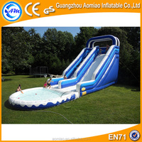Giant adult used inflatable pool water slide tubes adult large inflatable water slide with pool for sale