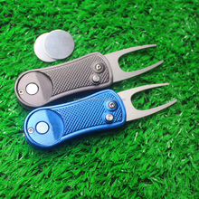Automatic golf divot pitch forks with custom ball marker in American