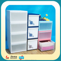 Folding easy to transport 4 drawer plastic storage