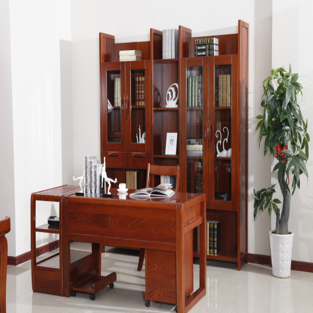 Antique Simple Style Bookcase With Study Table