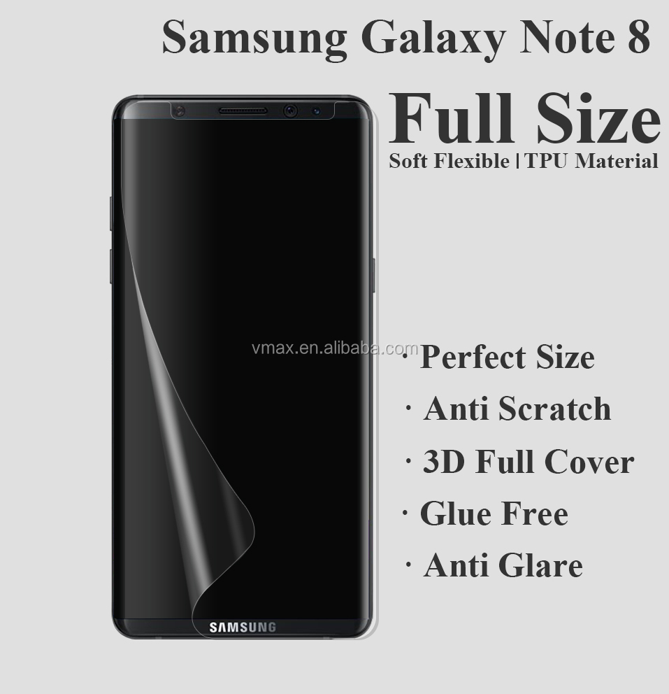 High Quality !! 0.33mm 3D full cover transparent tpu soft screen film guard for samsung note 8
