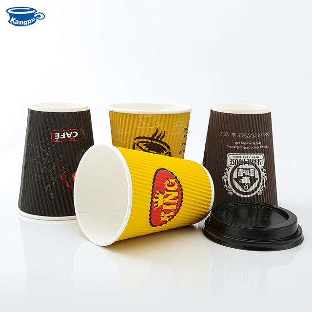 custom logo hot drinking ripple wall paper cup with lids,biodegradable ripple paper cup