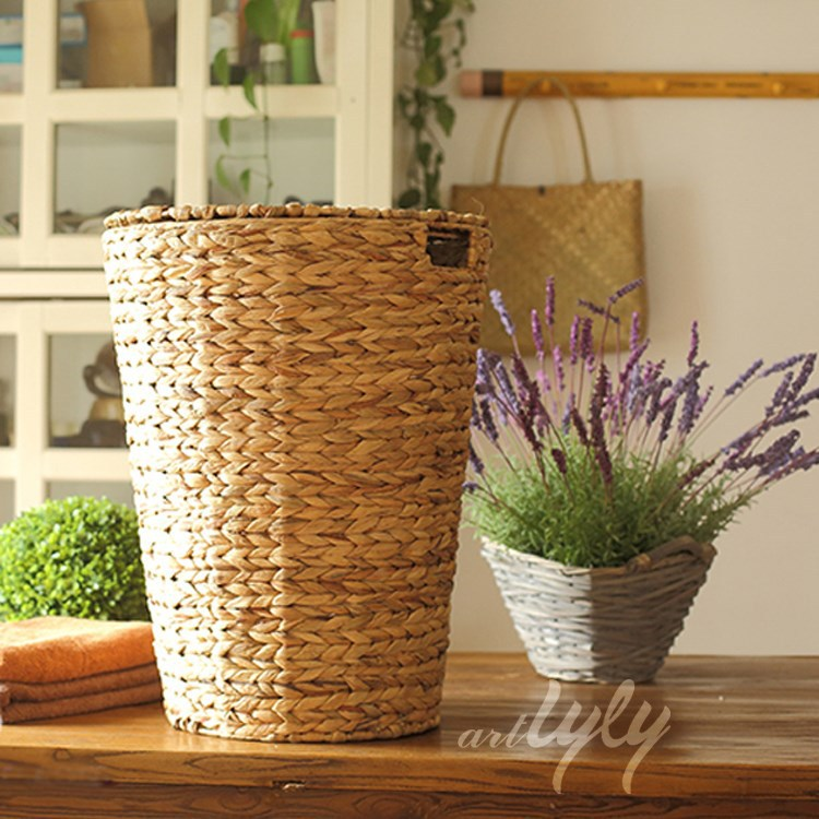 home decoration round water hyacinth storage basket with lid