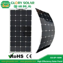 World popular semi flexible solar panels, 100w mono type for US market