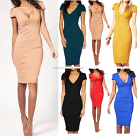 Sexy Women Deep V-neck Bodycon Slim Pencil Dress Business Party Cocktail Dress