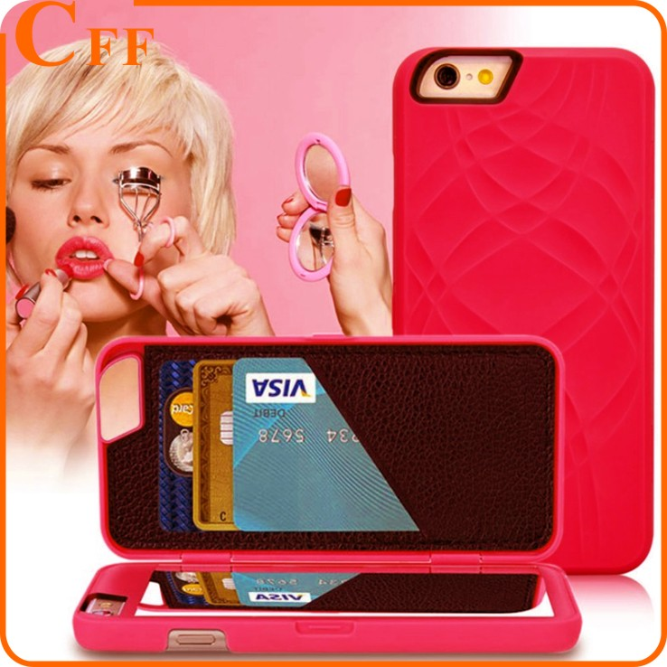 Multifunction built-in Cosmetic Mirror 3 card slots Wallet Case cover for iPhone 6s holster Sexy Pretty Lady Woman Cases