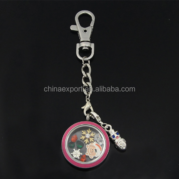 Personalized Stainless Steel Key Chain with Round Locket Snowflake Charms
