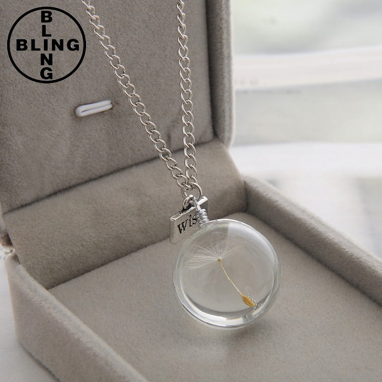 >>>2017 Hot Fashion Elegant Women Girls Alloy Long Crystal Glass Ball Pendant Rear Dandelion Seed Lover's Gifts Necklace/