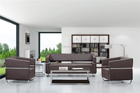 metal frame design brown leather office sofa set sectional sofa furniture made in China 1611