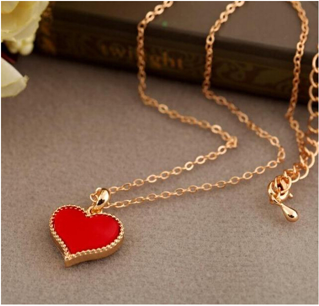 NK147 Fashion Hot New Gossip Girl Serena red hearts with love necklace clavicle chain models Wholesales