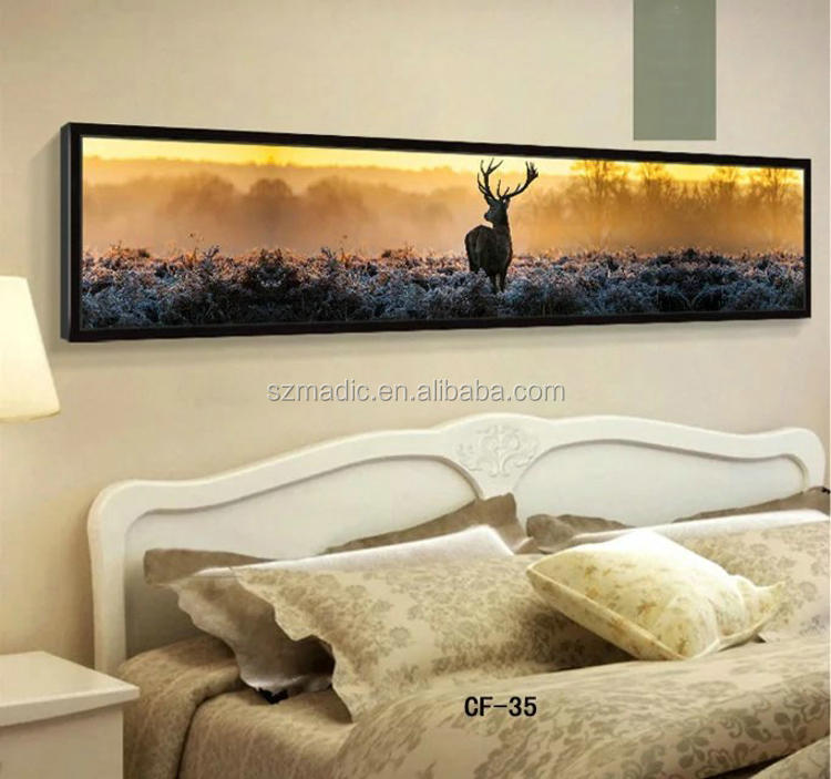Modern Oil Painting Frame Watching to the Remote at Morning Deer and Sunshine Nordic Bedroom Wall Decoration Art Prints