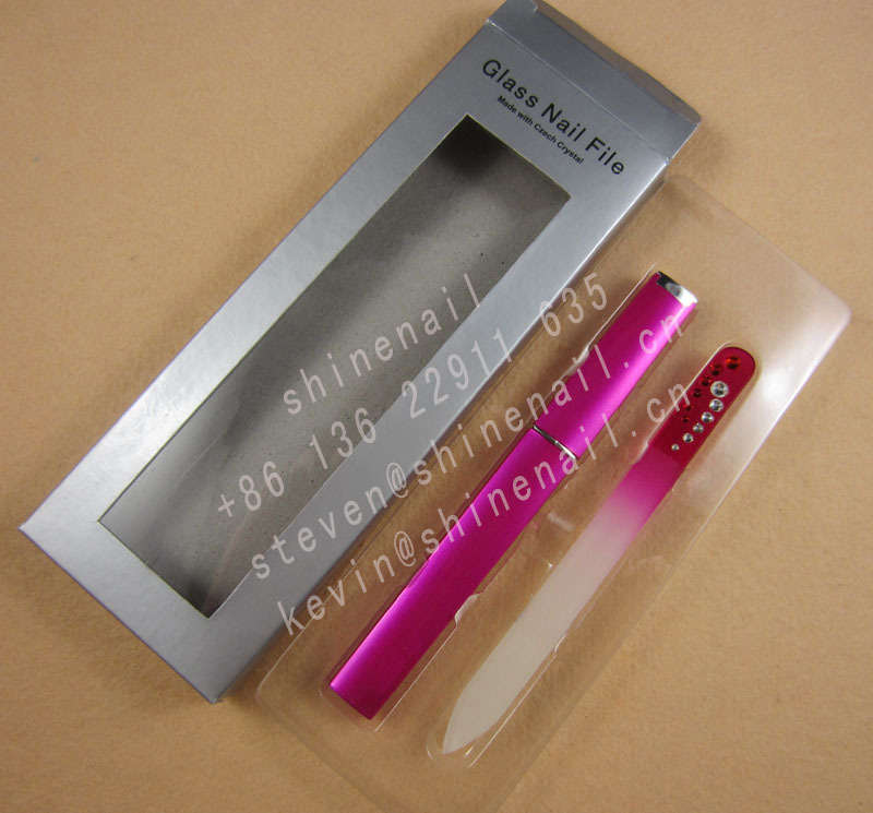 manufacturer supply colorful crystal glass nail file with rhinestones in color tube in paper box