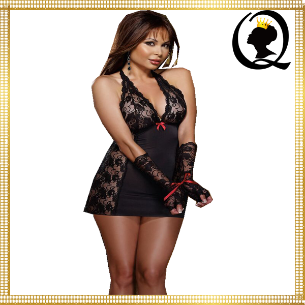 Hot Open Women Sexy Lingerie Midnight Temptress Halter Black Polyester Babydoll & Thong wholesale