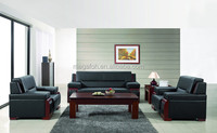 Top quality wood frame settee sofa set for office in genuine leather/pu leather(FOH-6609)